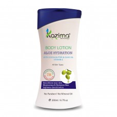 KAZIMA Aloe Hydration BODY LOTION (200ML) with Cocoa Butter & Olive Oil Vitamins E For Smoothens your skin Moisturizes & Hydrates Skin, Lightens discoloration Vitamin-E