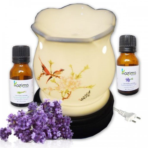Ceramic electric aroma oil diffuser glowing floral for Aroma indian cuisine coupon