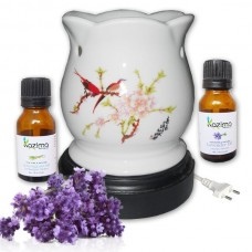 Ceramic Electric Aroma oil Diffuser – Glowing Floral Ceramic Design Freshener with FREE Lemongrass & Lavender Essential oil 15ml