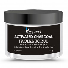 KAZIMA Activated Charcoal Facial Scrub (100g) with Jojoba & Rosemary Oil For Exfoliating, Deep Cleansing & Anti-pollution