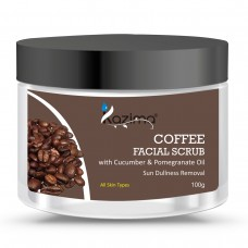 KAZIMA COFFEE Facial Scrub (100g) For Sun Dullness Removal with Cucumber & Pomegranate Oil