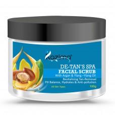 KAZIMA DE-Tan's SPA Facial Scrub (100g) with Argan & Ylang Ylang Oil pH Balance, Hydrates & Anti-pollution