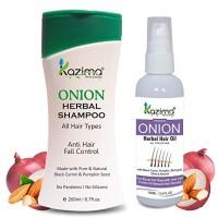 KAZIMA ONION Herbal Hair Oil (100 ML) + ONION HERBAL SHAMPOO 200ML (Combo Pack) with Multi Vitamins & Milk Proteins Ideal For Fast Hair Growth, Removes Anti Hair Dandruff & Hair lice, Anti Hair Fall Control